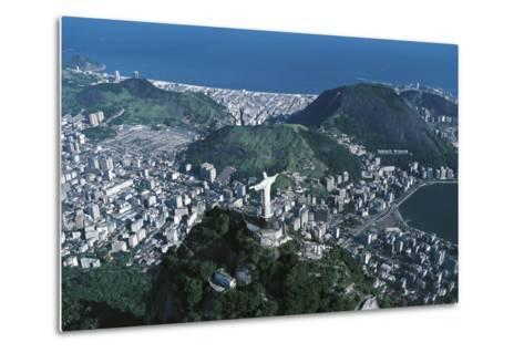View of the City, Corcovado and Statue of Christ the Redeemer--Metal Print