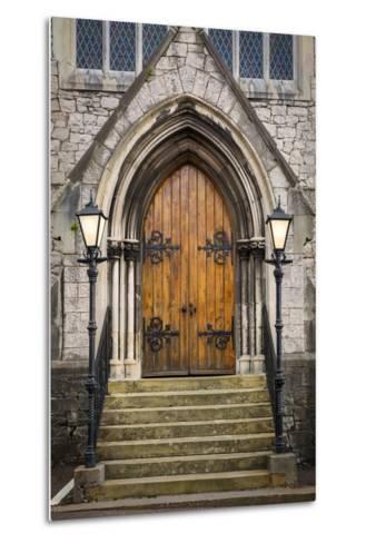 Wooden Doors at Entrance to Trinity Presbyterian Church, Cork, Ireland-Brian Jannsen-Metal Print
