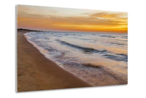 USA, Michigan, Paradise, Whitefish Bay Beach with Waves at Sunrise-Frank Zurey-Metal Print