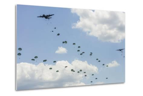 A C-130 Hercules Drop U.S. Army Airborne Troops over Maryland--Metal Print