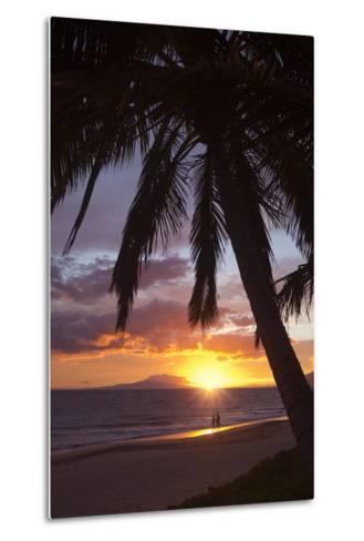 Couple Walking at Sunset at Keawekapu Beach, Wailea, Maui, Hawaii MNR-Ron Dahlquist-Metal Print