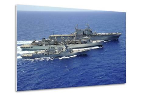 Uss Peleliu and USS Spruance Conduct a Replenishment at Sea with Usns Rainier--Metal Print