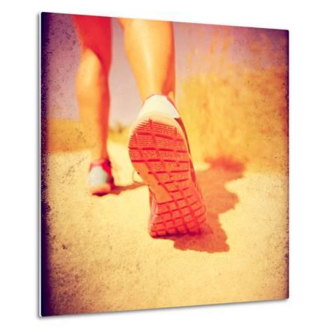 An Athletic Pair of Legs Running or Jogging on a Path during Summer Toned with a Soft Vintage Insta-graphicphoto-Metal Print
