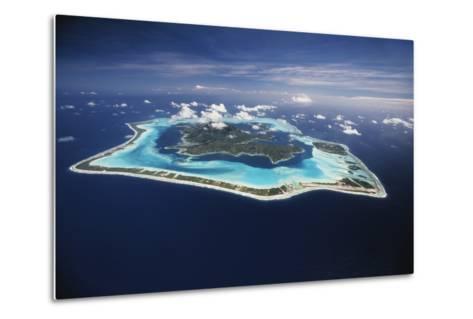 French Polynesia, Bora Bora, Aerial View of Bora Bora Island-Walter Bibikow-Metal Print