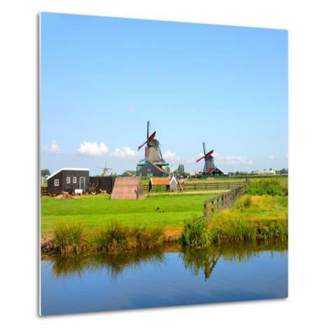 Windmill Amsterdam-Graphicstockphoto-Metal Print