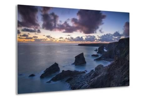 Twilight over the Bedruthan Steps Along the Cornwall Coast, England-Brian Jannsen-Metal Print