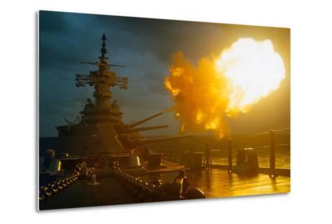 View of USS New Jersey Firing Guns-Kent Potter-Metal Print