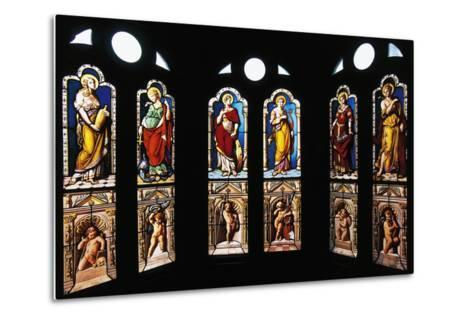 Figures of Saints, Stained Glass in Oratory, Royal Chateau De Blois--Metal Print