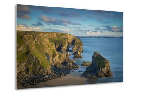 Sunset over the Bedruthan Steps Along the Cornwall Coast, England-Brian Jannsen-Metal Print
