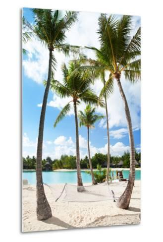 Hammock between Palm Trees at Beach on Bora Bora-BlueOrange Studio-Metal Print