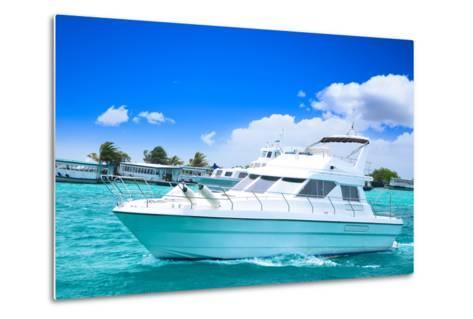 Luxury Yatch in Beautiful Ocean-SurangaWeeratunga-Metal Print