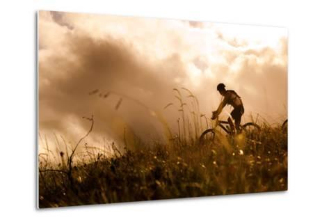 Happy Couple Riding Bicycles Outside, Healthy Lifestyle Fun Concept. Silhouette at Sunset Panoramic-warrengoldswain-Metal Print