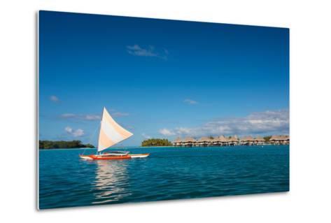 Sunset Sailing at Beautiful Bora Bora Lagoon-BlueOrange Studio-Metal Print