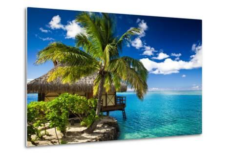 Tropical Bungalow and Palm Tree next to Amazing Blue Lagoon-Martin Valigursky-Metal Print