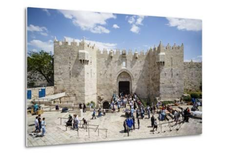Damascus Gate in the Old City, UNESCO World Heritage Site, Jerusalem, Israel, Middle East-Yadid Levy-Metal Print