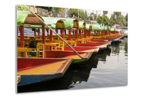 Line of Colourful Boats at the Floating Gardens in Xochimilco-John Woodworth-Metal Print
