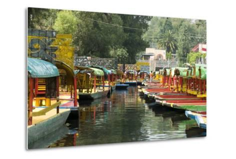 Colourful Boats at the Floating Gardens in Xochimilco-John Woodworth-Metal Print