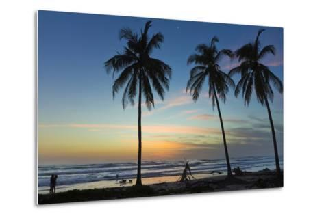 Palm Trees at Sunset on Playa Guiones Surf Beach at Sunset-Rob Francis-Metal Print