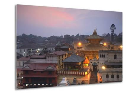 Pashupatinath Temple at Dusk, UNESCO World Heritage Site, Kathmandu, Nepal, Asia-Ian Trower-Metal Print