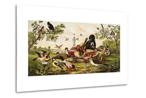 Color Print of Birds Feasting on a Fruit Pie--Metal Print