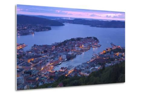 Elevated View over Central Bergen at Dusk, Bergen, Hordaland, Norway, Scandinavia, Europe-Doug Pearson-Metal Print