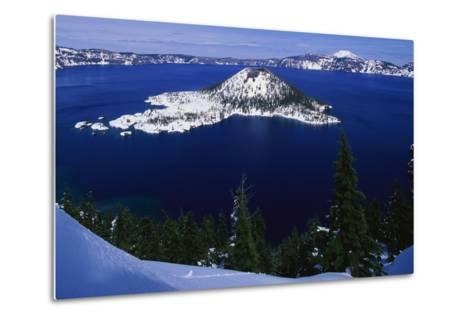 Snow Covered Wizard Island on Crater Lake-Paul Souders-Metal Print