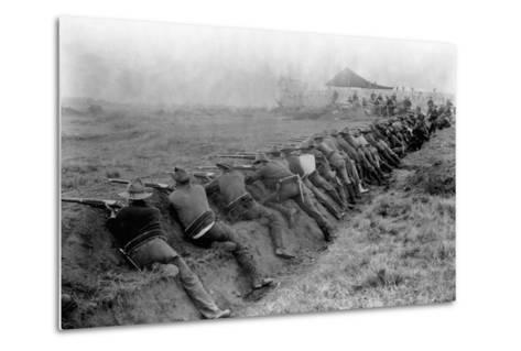 American Soldiers Practicing Shooting During Spanish-American War--Metal Print