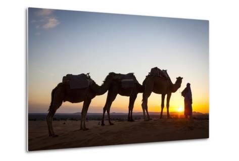 Camel Driver, Sahara Desert, Merzouga, Morocco, North Africa, Africa-Doug Pearson-Metal Print