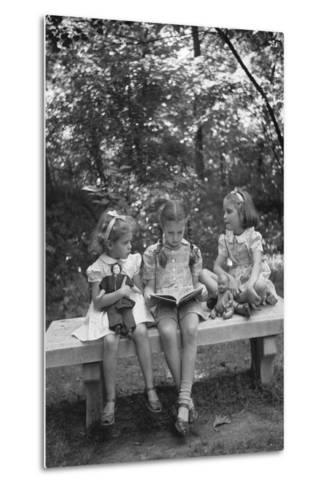 Girls Reading on Park Bench-Philip Gendreau-Metal Print