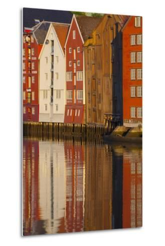 Old Fishing Warehouses Reflected in the River Nidelva-Doug Pearson-Metal Print