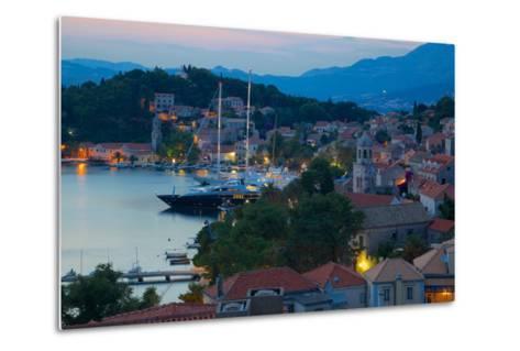 View over Old Town at Dusk, Cavtat, Dubrovnik Riviera, Dalmatian Coast, Dalmatia, Croatia, Europe-Frank Fell-Metal Print