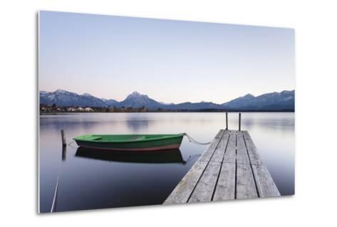 Rowing Boat on Hopfensee Lake at Sunset, Near Fussen, Allgau, Allgau Alps, Bavaria, Germany, Europe-Markus Lange-Metal Print