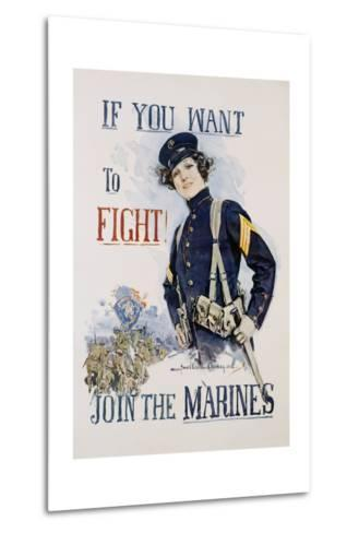 If You Want to Fight! Join the Marines Poster-Howard Chandler Christy-Metal Print