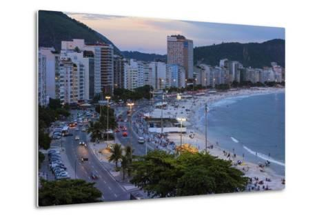 Copacabana at Night, Rio De Janeiro, Brazil, South America-Gabrielle and Michael Therin-Weise-Metal Print