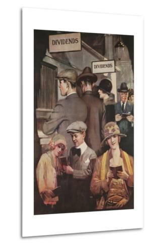 1920s American Banking Poster, Dividends--Metal Print