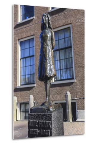 Statue of Anne Frank Outside Westerkerk, Near Her House, Amsterdam, Netherlands, Europe-Amanda Hall-Metal Print