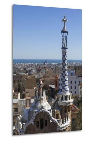 Multi Coloured and Patterned Glazed Ceramic Work Decorates a Roof in Parc Guell-James Emmerson-Metal Print