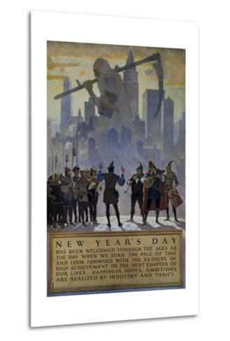 1920s American Banking Poster, New Year's Day--Metal Print