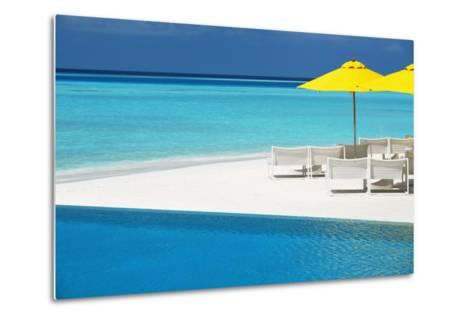 Infinity Pool and Lounge Chairs, Maldives, Indian Ocean, Asia-Sakis Papadopoulos-Metal Print
