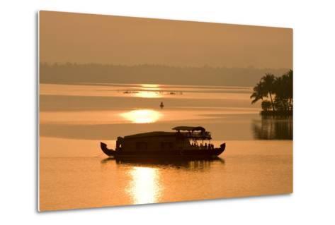 Houseboat at Dusk in Ashtamudi Lake, Kollam, Kerala, India, Asia-Balan Madhavan-Metal Print