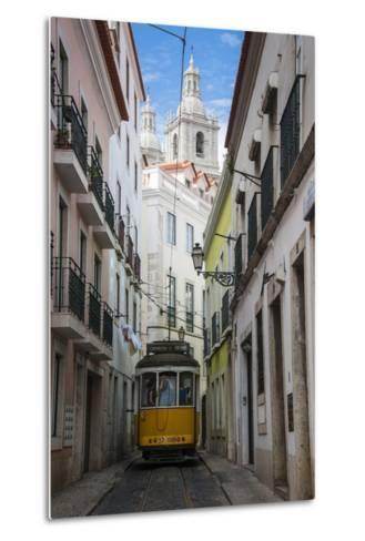 Famous Tram 28 Going Through the Old Quarter of Alfama, Lisbon, Portugal, Europe-Michael Runkel-Metal Print
