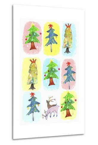 Sticker Icon Pack of Christmas Trees--Metal Print
