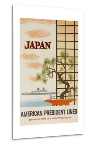 Japan American President Lines Cruise Poster--Metal Print