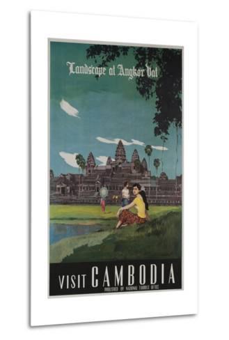 Landscape of Angkor Wat, Visit Cambodia 1950s Travel Poster--Metal Print