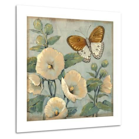 Butterfly and Hollyhocks I-Tim O'toole-Metal Print