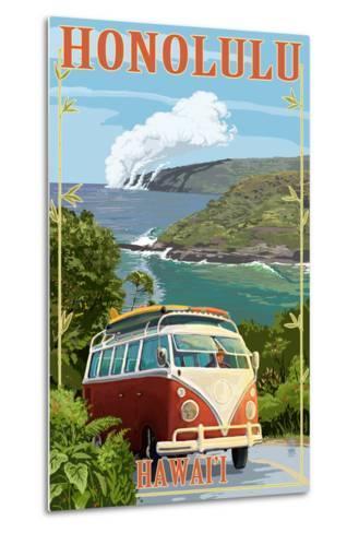 VW Van Coastal - Honolulu, Hawaii-Lantern Press-Metal Print