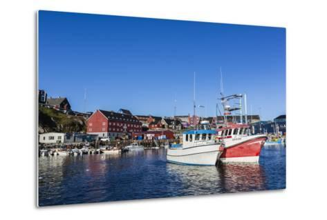 Commercial Fishing and Whaling Boats Line the Busy Inner Harbor in the Town of Ilulissat-Michael Nolan-Metal Print