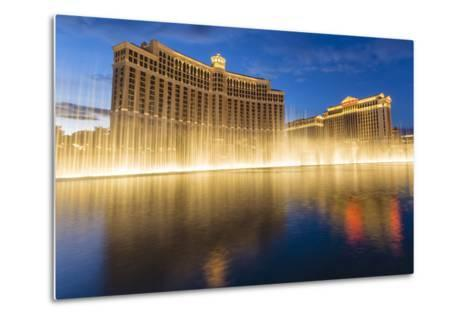 Bellagio and Caesars Palace Reflections at Dusk with Fountains, the Strip, Las Vegas, Nevada, Usa-Eleanor Scriven-Metal Print