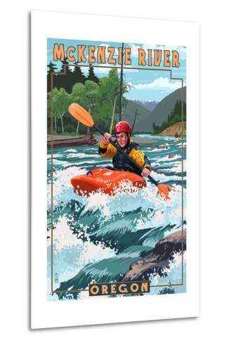 McKenzie River, Oregon - Kayak Scene-Lantern Press-Metal Print