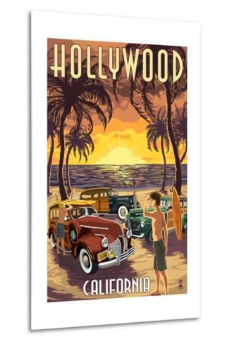 Hollywood, California - Woodies on the Beach-Lantern Press-Metal Print
